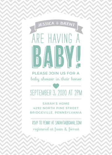 chevron baby shower invitations match your color style free