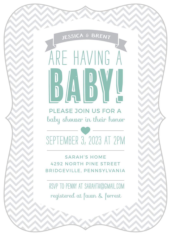 Trendy Chevron Baby Shower Invitations By Basic Invite