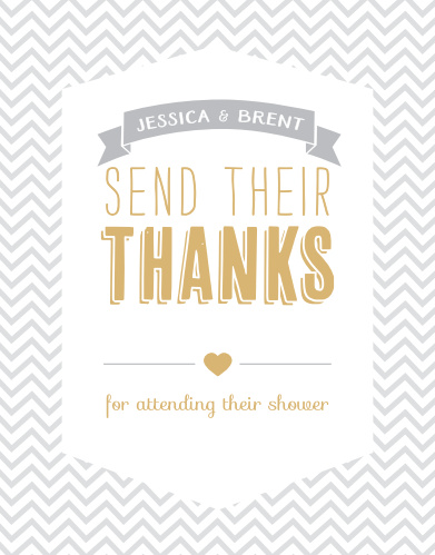 Trendy Chevron Foil Baby Shower Thank You Cards