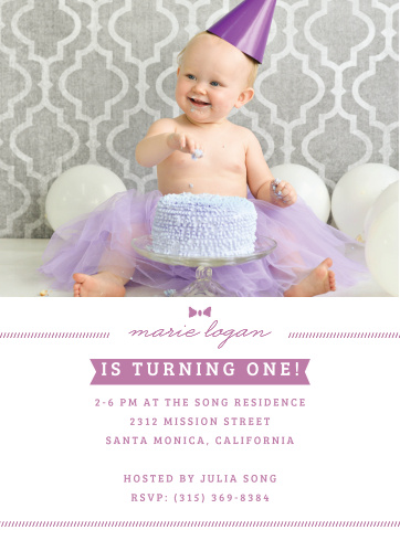 Little Lady First Birthday Invitations