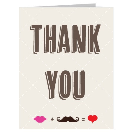 The Charming Mustache Thank You Card