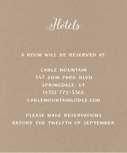Rustic Love Accommodation Cards