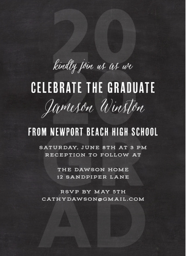 chalkboard grad graduation invitations