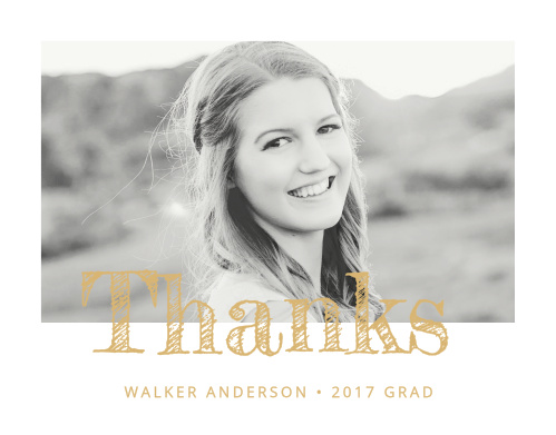 Modern Calligraphy Foil Graduation Thank You Cards