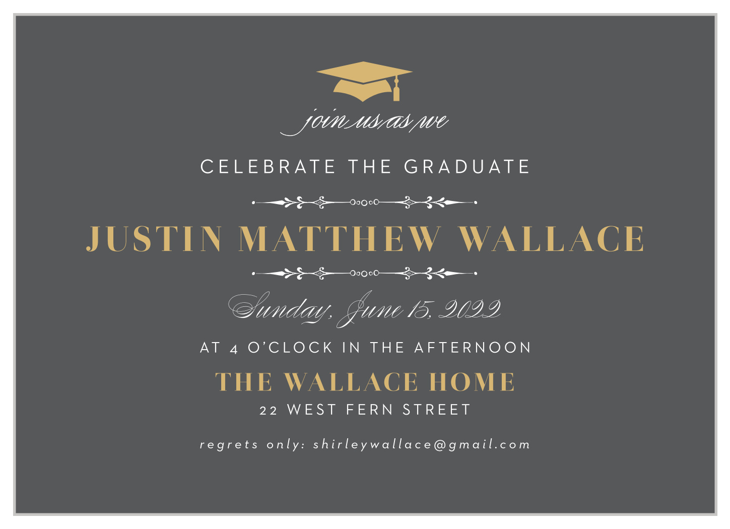 Formal Party Foil Graduation Invitations