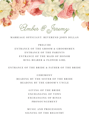 Alluring Florals Wedding Programs