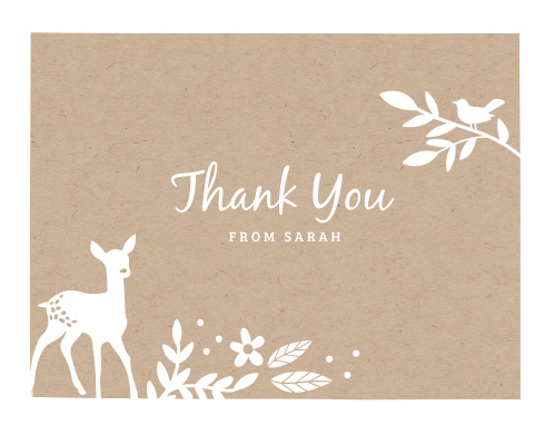 Kraft Woodland Thank You Cards