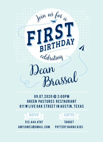 Paper Planes First Birthday Invitations