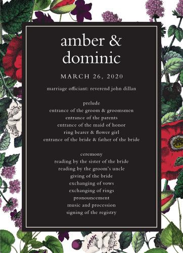 Vintage Botanical Wedding Programs