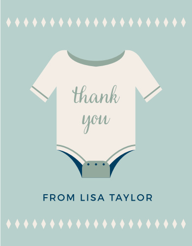 Illustrated Info Boy Baby Shower Thank You Cards