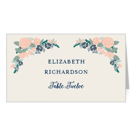 Illustrated Corner Wreath Place Card