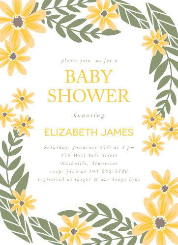 Sunflower Baby Shower Invitations Match Your Color Style Free
