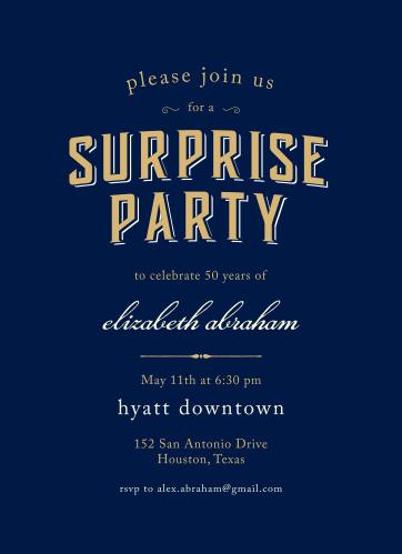 Spectacular Surprise Foil Milestone Birthday Party Invitations