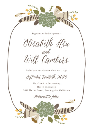 succulent wedding invitations match your color style free