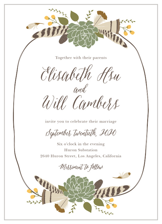 Bohemian Wedding Invitations Match Your Color Style Free