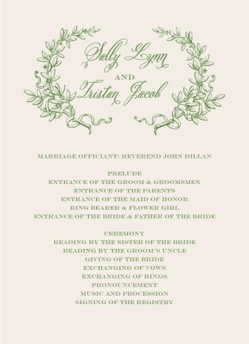 Classical Gardens Wedding Programs