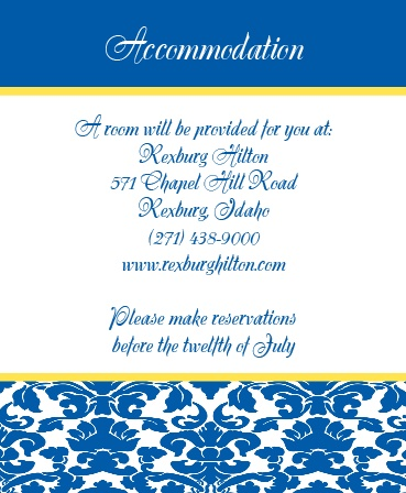 The Damask Border Accommodation Cards
