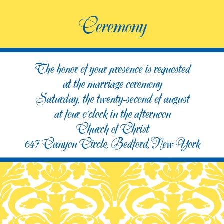 The Damask Border Ceremony Cards