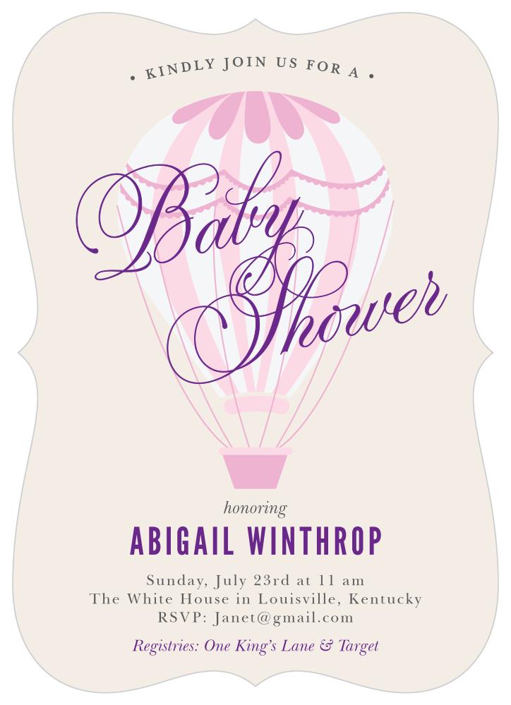 Hot Air Balloon Girl Baby Shower Invitations