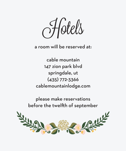 Laurel Crown Accommodation Cards