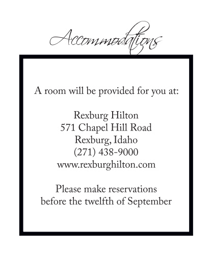 Timeless Classic Accommodation Cards