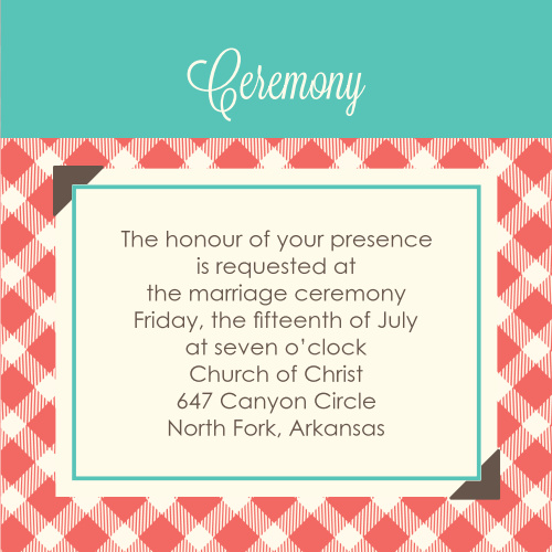 Timeless Plaid Scrapbook Ceremony Cards
