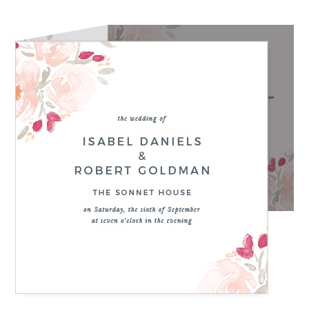 Watercolor Bouquet Storybook Wedding Invitations