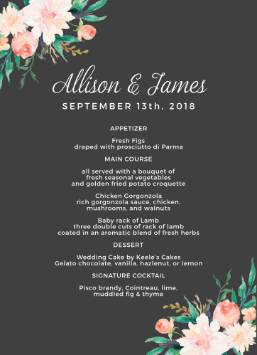 Blossoming Love Wedding Menus