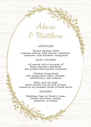 Delicate Laurel Wedding Menu