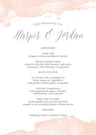 Dip Dye Wedding Menu