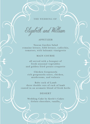 Flourish Charm Wedding Menus