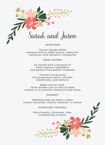 Garden Party Wedding Menus