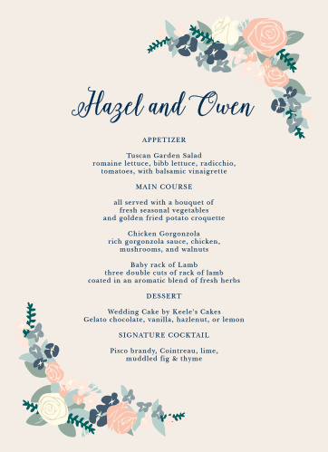 Illustrated Corner Wreath Wedding Menus