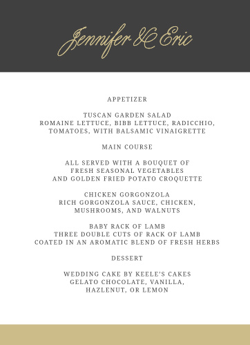 Modern Forever Wedding Menus