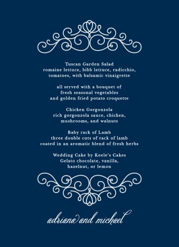 Royal Scrolls Wedding Menus