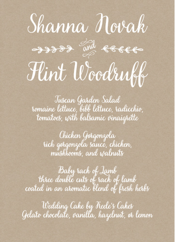 Rustic Country Wedding Menus