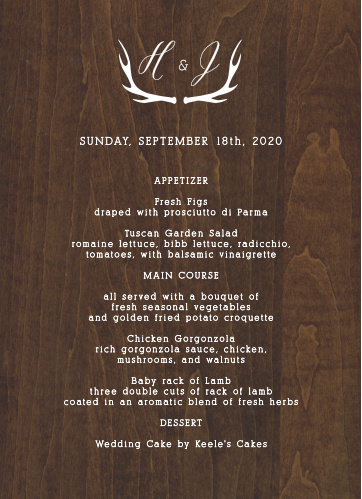Rustic Wood Wedding Menus