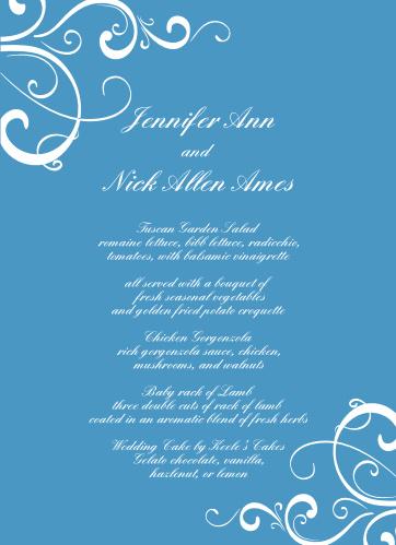 Simple Swirls Wedding Menus