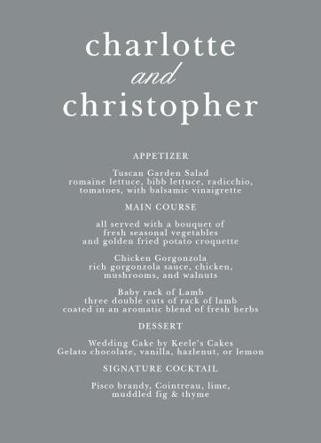 Sophisticated Typography Wedding Menus