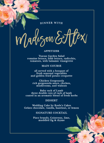 Standing Ovation Wedding Menus