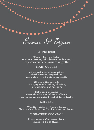 String Lights Wedding Menus