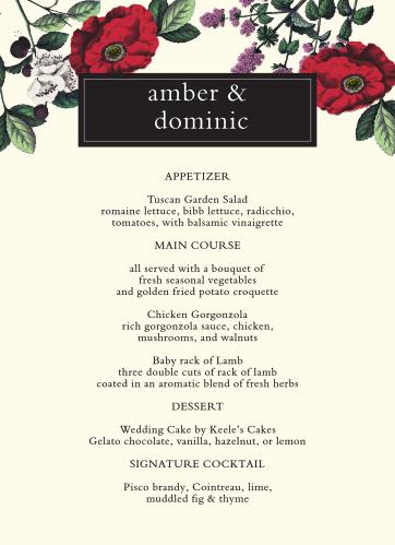 Vintage Botanical Wedding Menus