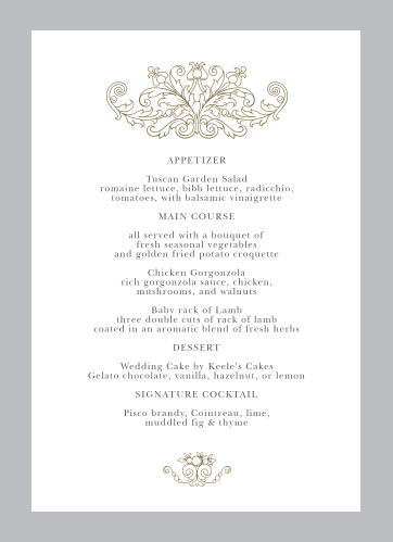 Vintage Damask Wedding Menus
