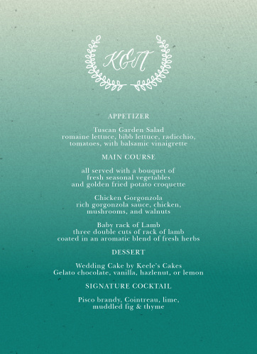 Rustic Ombre Wedding Menus