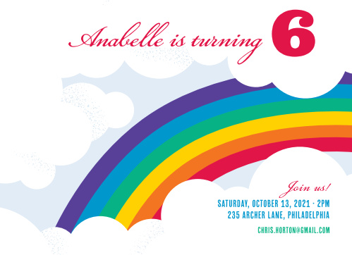 rainbow children s birthday invitations match your color style free