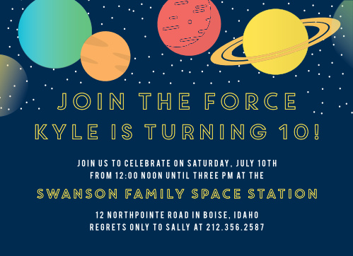 Join The Force Childrens Space Birthday Party Invitations