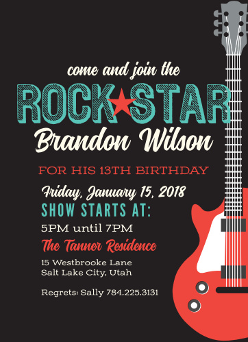 Rock Star Childrens Birthday Party Invitations