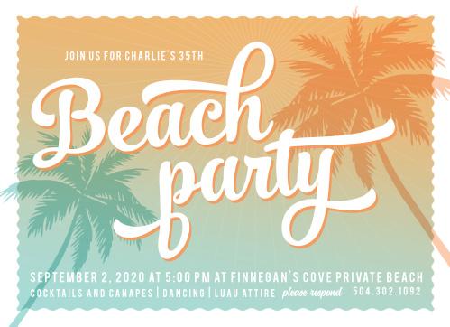 Sunset Beach Milestone Birthday Party Invitations