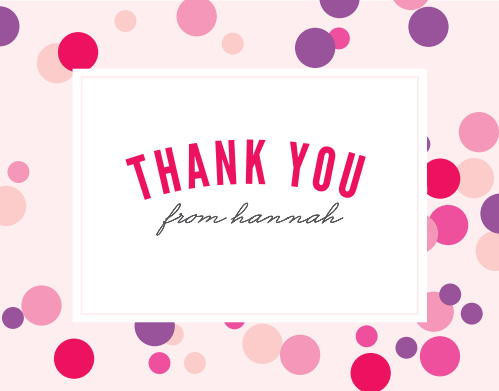 Dotty Frame Girl Thank You Cards