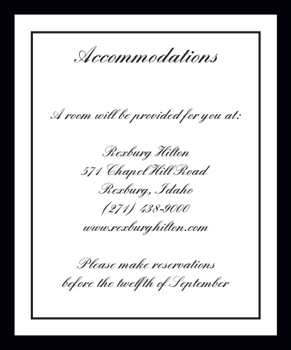 Classic Sophistication Accommodation Cards
